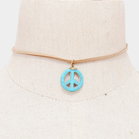 """13.50"""" peace """"1 sign choker collar faux suede necklace boho turquoise"""