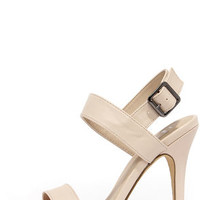 Known Fact Nude High Heel Sandals