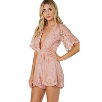 Antique Embroidered Romper Pink