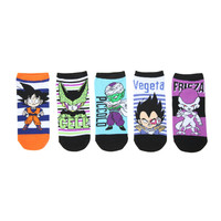 Dragon Ball Z Stripes No-Show Socks 5 Pair