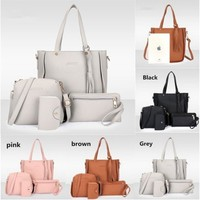 Xmas Fashion 4pcs Women Leather Handbag Lady Shoulder Bags Tote Purse Messenger Satchel Set