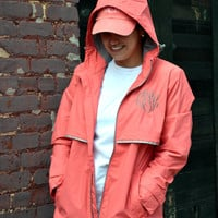 CORAL Monogrammed Rain Jacket -Womens - Personalized - Adult Sizes