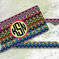 NEW - Set of TWO - Aztec monogrammed License plate and License Plate Frame metal front license tags