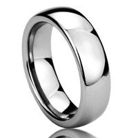 6MM Titanium Comfort Fit Wedding Band Ring High Polished Classy Domed Ring (6 to 14)