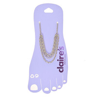 Multi Layered Silver Tone Chain Anklet