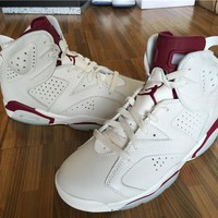 Air Jordan Retro 6 Maroon Basketball Shoes Men Women 6s Maroon White Red Athletics Sports Sneakers With Shoes Box High Quality