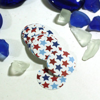 1 inch blanks - 24 Red White and Blue Stars Patriotic Circle Cut Outs, 1 inch scrapbook embellishment blanks - USA, Fourth of July, Veterans