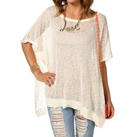 Natural Open Knit Cover-Up