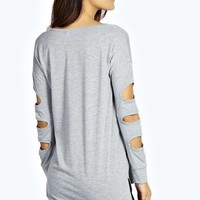 Maria Caged Sleeve Dipped Back Top