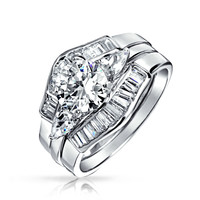 Bling Jewelry Baguette Bridal Ring