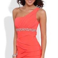 One Shoulder Dress with Stone Waist and Ruched Sides