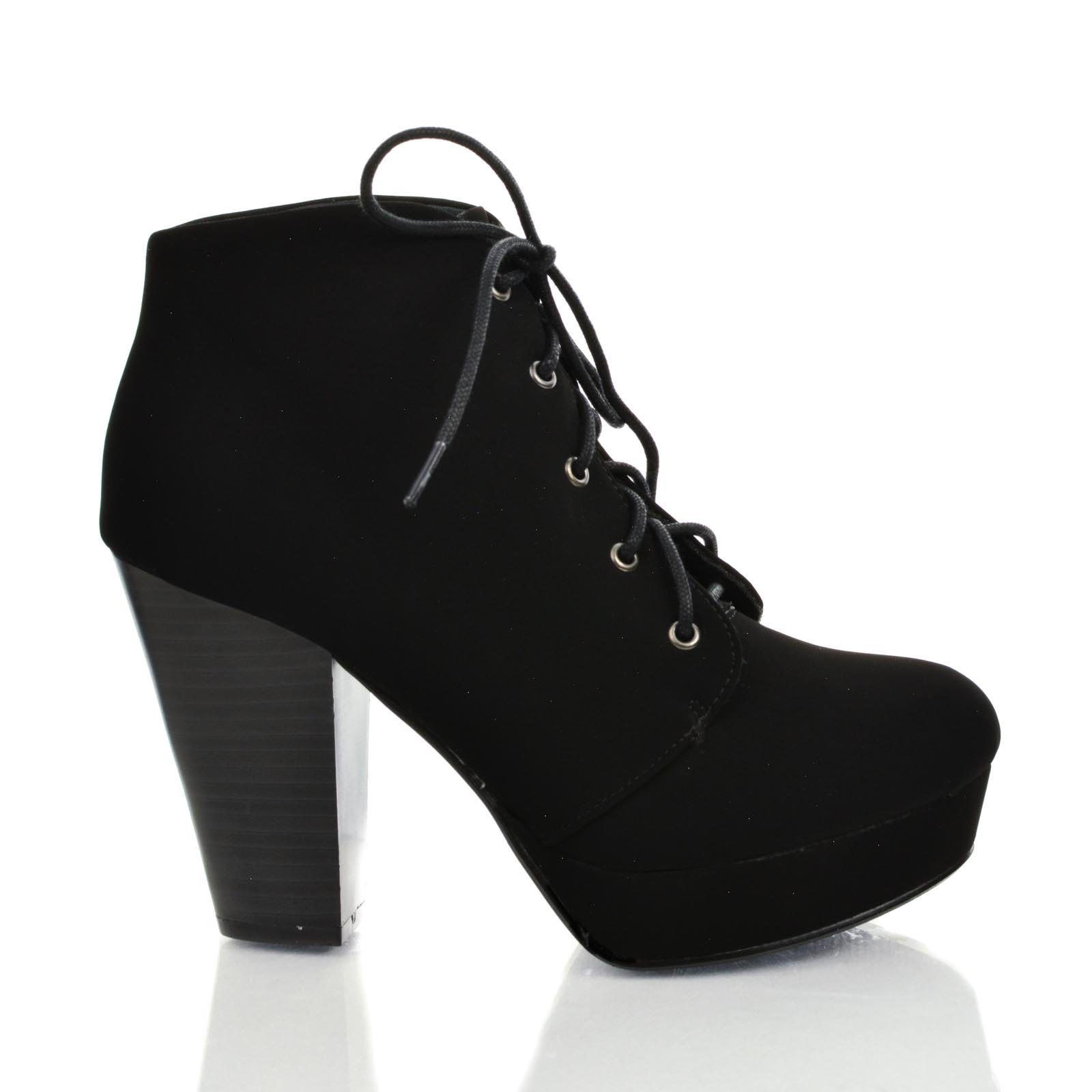 Image of Agenda Black Nubuck by Soda, Lace Up Ankle Bootie w Chunky Stacked Heels