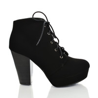 Agenda Black Nubuck by Soda, Lace Up Ankle Bootie w Chunky Stacked Heels
