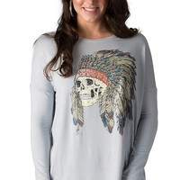 Rock 47 by Wrangler Women's Grey with Indian Headdress Long Sleeve Top