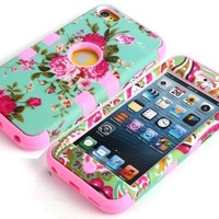 Deluxe Floral Flowers Hybrid Impact Rubber Hard Case For iPod Touch 5 5th Gen