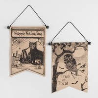 Burlap Halloween Banners Set of 2