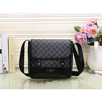 LV Women Monogram Leather Crossbody Satchel Shoulder Bag Black Tartan I-MYJSY-BB