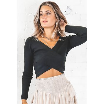 Know The Truth Black Overlap Crop Top