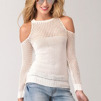 Mix-Stitch Cold-Shoulder Sweater