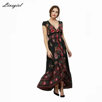Livagirl Vestido Long Flower Dress Retro Bohemian Maxi Dress Sexy Ethnic V-neck Floral Print Beach Dresses Boho Hippie Robe