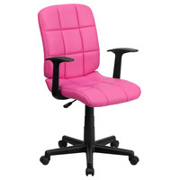 Mid-Back Pink Quilted Vinyl Task Chair with Nylon Arms GO-1691-1-PINK-A-GG