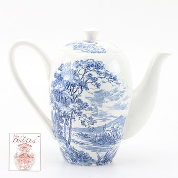 Wedgwood Blue Transferware Tall Coffee Pot English Countryside Bridge Castle