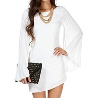 Off White Pleated Bell Tunic