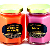 Highly Scented Candles in a Set of 2 - Customize With Choice of Scent and Color - Hexagon Jar - Candles Have at Least Double Scent Content