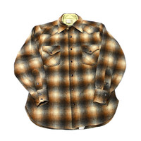 Vintage 1980s Pendleton Wool Pearl Snap Button Up Shirt Mens Size Small