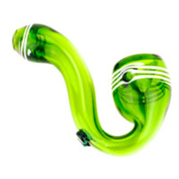 Nepal Glass - Green Sherlock With White Pinstriped Mouth & Bowl