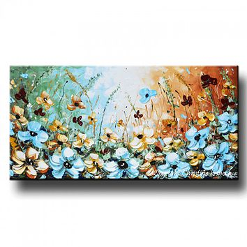 """GICLEE PRINT Art Abstract Painting Blue Flowers Poppies Floral Canvas Prints Select Sizes to 60"""""""