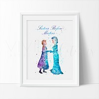 Princess Elsa & Anna 2 Watercolor Art Print