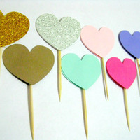 Heart Cupcake Toppers/Mix And Match/Birthday/Party/Wedding/Shower/Customizable