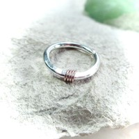 Solid Silver with 14k Rose Gold Nose Ring Hammered & Wrapped
