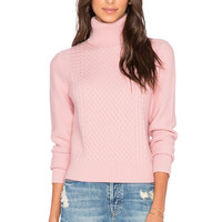 Equipment Cable Stitch Atticus Turtleneck Sweater in Blush Pink