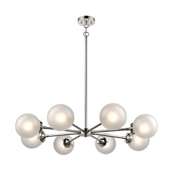 Boudreaux 8-Light Chandelier in Polished Nickel with Frosted