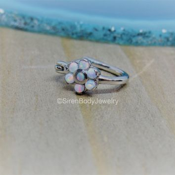 Helix flower hoop 16g tragus clicker ring cartilage piercing white opals