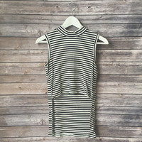 Marilyn Striped Mock Neck Tank (Black)