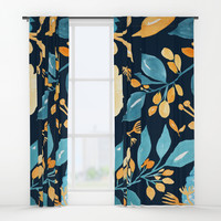 Teal and Golden Floral Window Curtains by noondaydesign