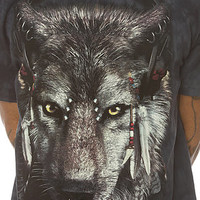 The Mountain Tee Native Wolf in Black