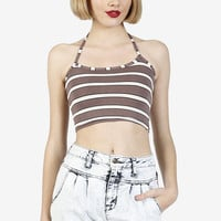Line Up Striped Halter Top by American Deadstock