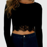 Lace Trim Long Sleeve Crop Top
