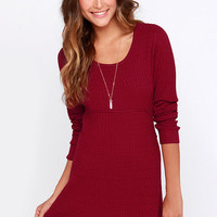 Cocoa and Kisses Wine Red Sweater Dress