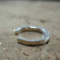 No Pierce Sterling Silver Square Hammered