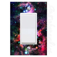Space Nebula Light Switch Cover with Decal Galaxy with Stars Wall Art LS19