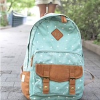 Sweet Cute White Tiny Dot Canvas Backpack from styleonline