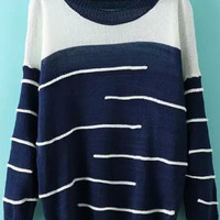 Navy White Long Sleeve Striped Knit Sweater
