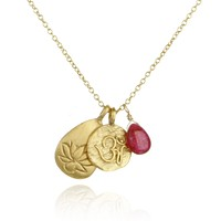 Gold Ruby Om And Lotus Necklace - Roots Of Passion
