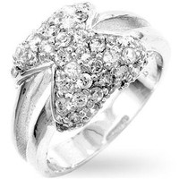 Pave Bowtie Fashion Ring, size : 05