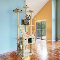 Tiger Tough Double Decker Grey/Cream Wood, Metal, and Sisal Rope Cat Tree House Playground